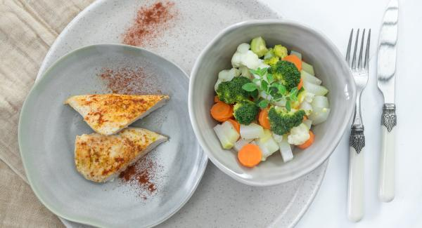Chicken breast with seasonal vegetables