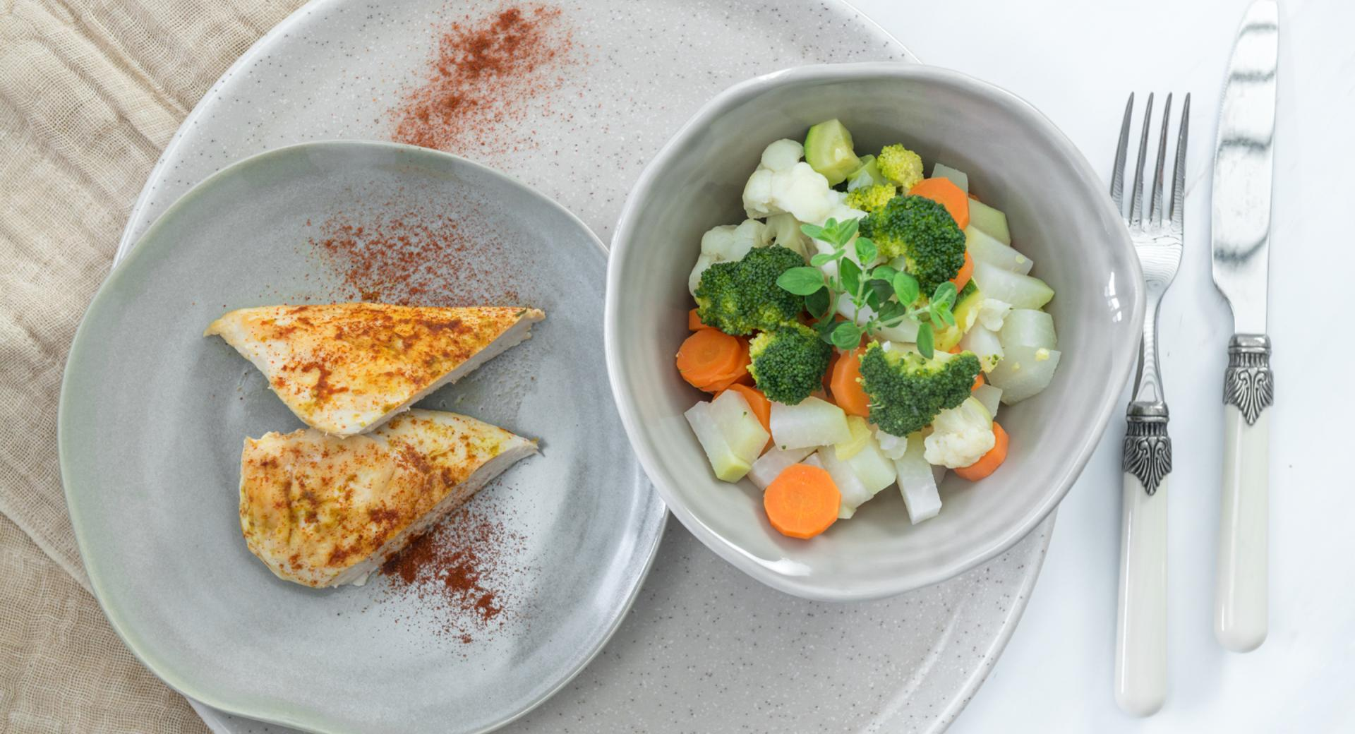 Chicken breast and seasonal vegetables