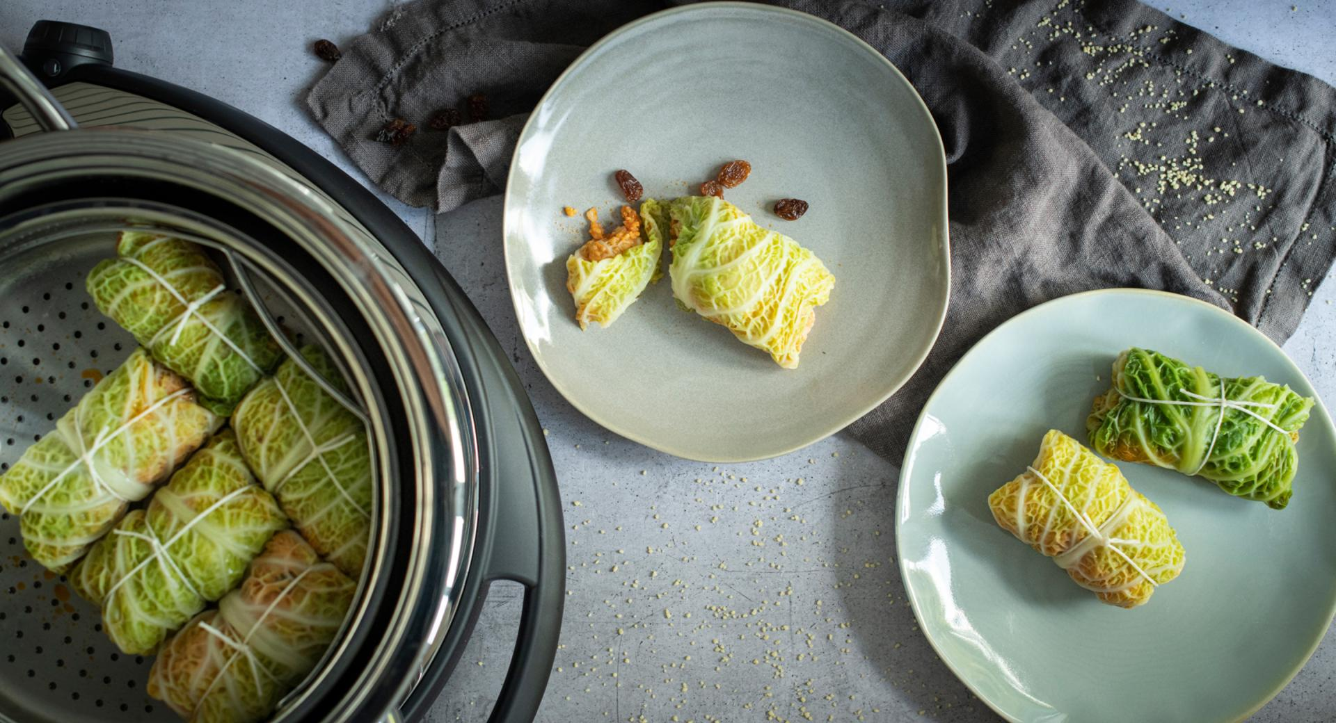 Savoy cabbage rolls with couscous filling