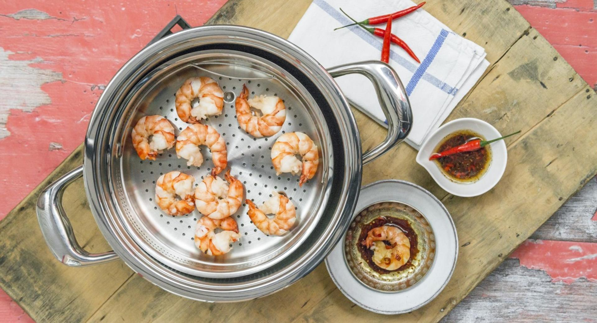 Jumbo shrimp with chili-infused oil