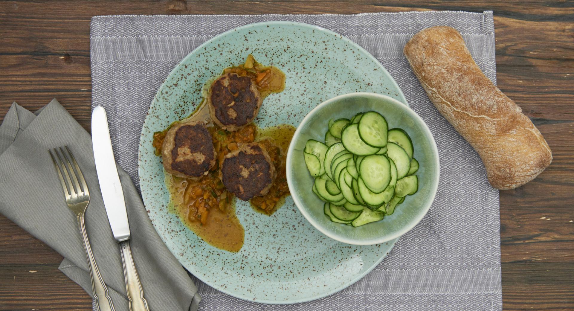Danish meatballs with cucumber salad