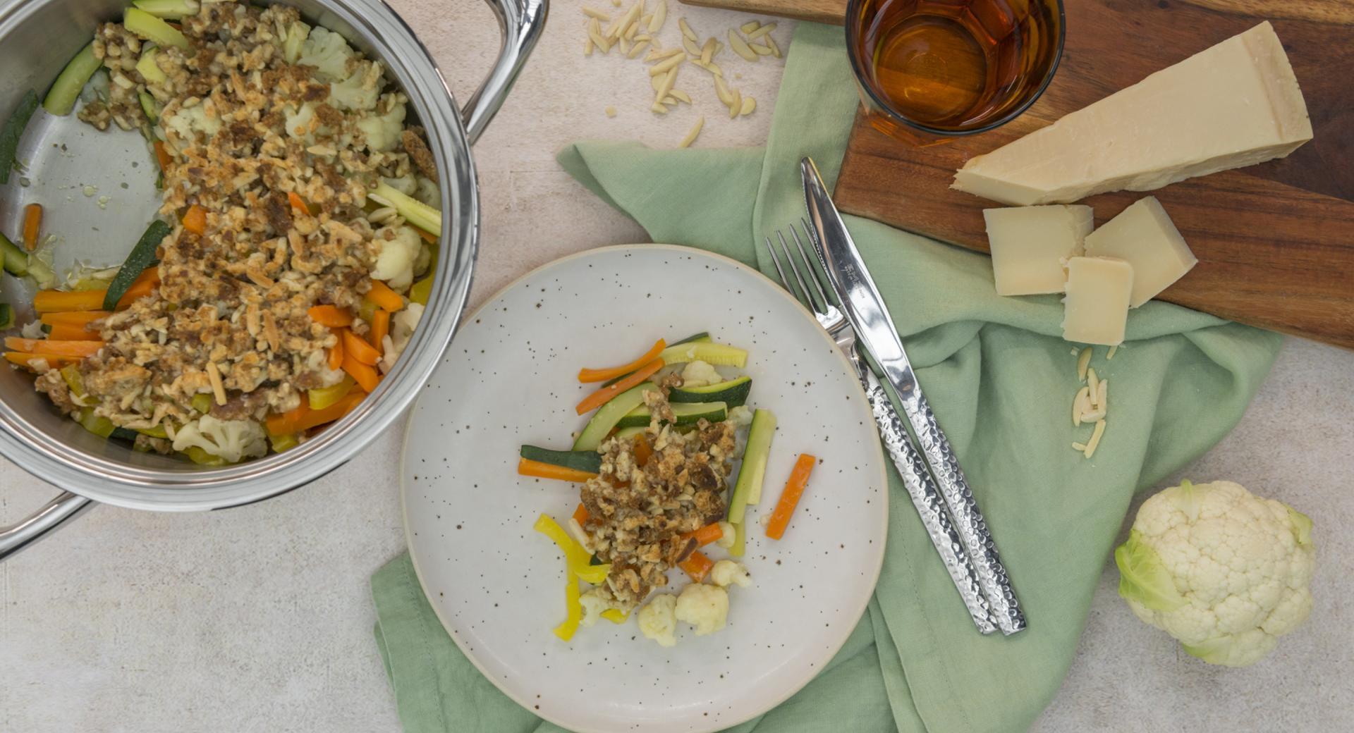 Garden vegetables with crispy cheese crust
