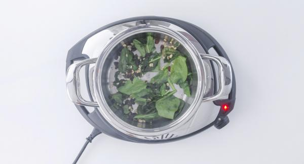 As soon as the Audiotherm beeps on reaching the roasting window, switch off Navigenio, remove pot from heat and add spinach, raisins and pine nuts. Stir until cooked.