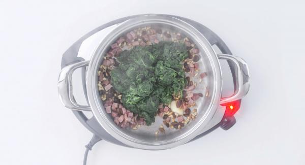 Add spinach and stir.