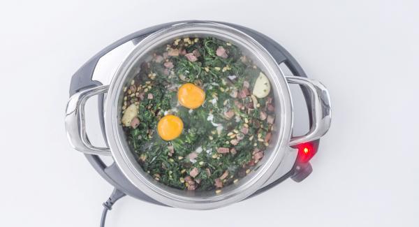 Break 2 eggs over spinach, switch off Navigenio and close.