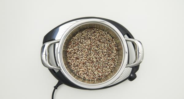 Mix water, quinoa and salt in the pot. Place pot on Navigenio and close with Secuquick softline.
