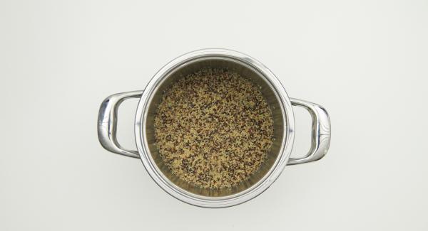 Remove Secuquick, loosen up Quinoa and serve.