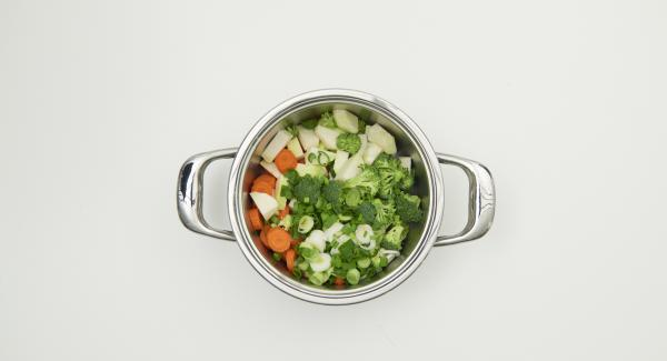 Clean the vegetables, cut them into equal pieces and put them into pot dripping wet. Cut the spring onions and add them.