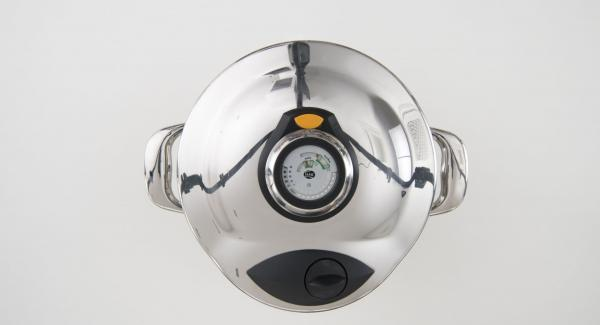 As soon as the Audiotherm beeps on reaching the soft window, place the pot in the inverted lid and leave it to depressurise by its own.