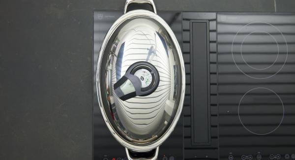 Place Oval Grill on stove and set it at highest level. Switch on Audiotherm, fit it on Visiotherm and turn it until the roasting symbol appears.