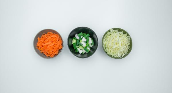 Clean cabbage, peel carrots and grate both finely. Clean the spring onions and cut them into 1 cm long pieces. Cut soaked mushrooms into small pieces.
