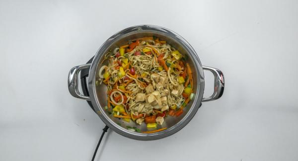 Add the tofu again and let everything heat up while stirring. Serve sprinkled with coriander and cashew nuts.