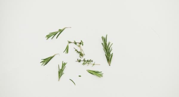 Cut the herb twigs into small pieces. Layer with vegetables and peppercorns in a well cleaned glass. Bring port wine, vinegar, honey and salt to boil in a small pot.