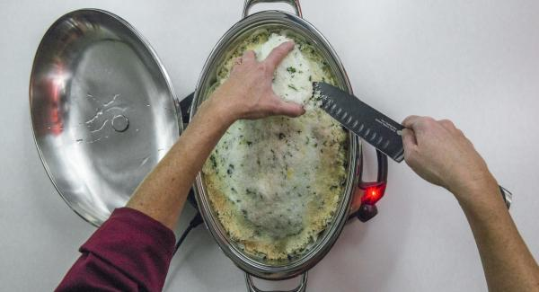 At the end of the cooking time, carefully open the salt crust, fillet the fish and serve drizzled with olive oil.