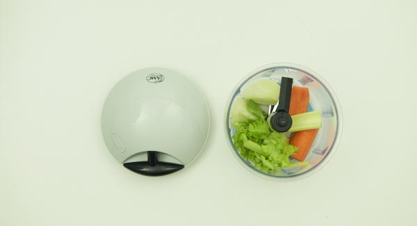 Clean the vegetables, chop finely in Quick Cut and put into a pot.