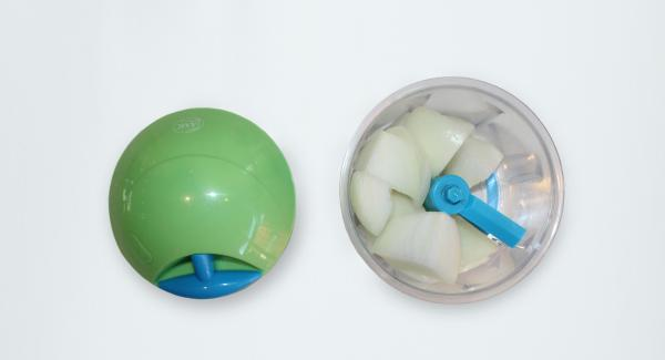Peel and chop the onion with Quick Cut.