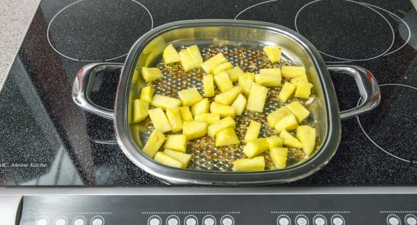 Shortly roast pineapple, remove, sprinkle with lime juice and add a little salt.