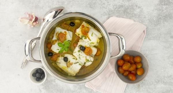 Cod with cherrys, olives and basil