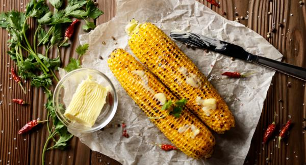 Corn on the cob with basil pine nut butter