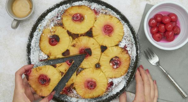 Pineapple cake with cherries