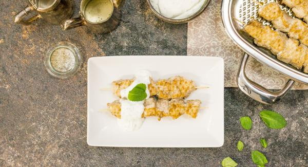 Arabic-style diced chicken with mint yogurt