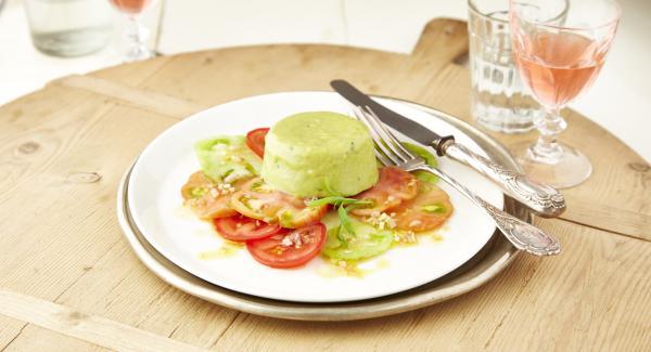 Asparagus mousse on tomato carpaccio