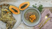 Leg of lamb with papaya ginger sauce
